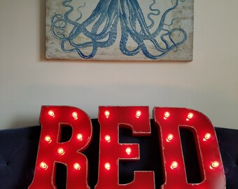 "Light Up Letters Red Distressed 21"" Metal Marquee Lights Sign"