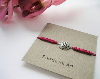 FLOWER OF LIFE bracelet. Macrame and Sterling Silver bracelet. Gift for Yoga Friends, Bridesmaid, Friendship bracelet. Choose your color!