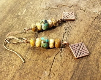 Boho Earrings, Copper Earrings, Drop Earrings