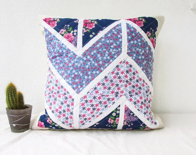 Patchwork pillow cover, blue and pink, handmade in the UK