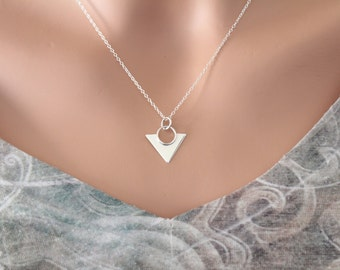 Sterling Silver Triangle Pendant Necklace, Silver Triangle Statement Necklace, Silver Geometric Triangle Necklace, Triangle Charm Necklace