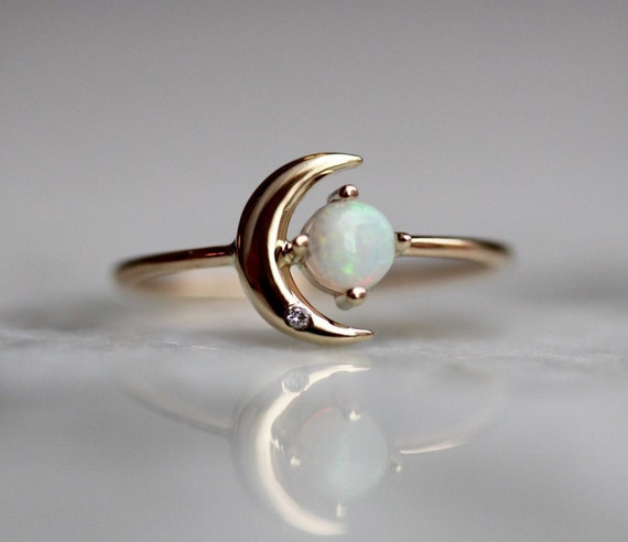 Moon And Star Diamond Ring