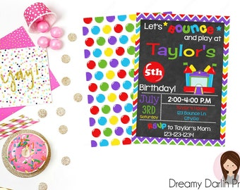 Printable Bounce House Party Invitation, Bounce House Invite, Birthday Party Invitation, 5x7, Front & Back Side