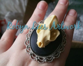 Large 3D Resin Bat Skull Cabochon Statement Adjustable Silver Ring. Gothic, Vampire, Victorian, Anatomy, Costume, Steampunk
