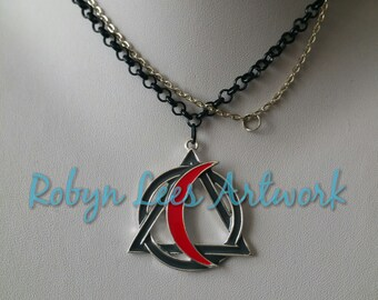 Dark Grey & Red Crescent Moon, Circle and Triangle Pendant Necklace on Silver or Black Chain. Gothic, Wiccan, Pagan, Costume, Nature