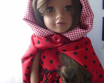 Americangirl, dress. Doll 18 inches. doll, dress and cape Red