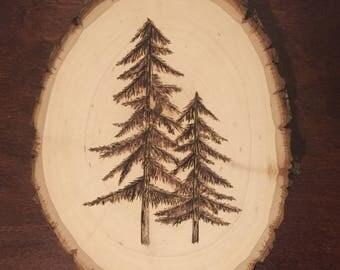 Rustic Wood Burned Pine Tree