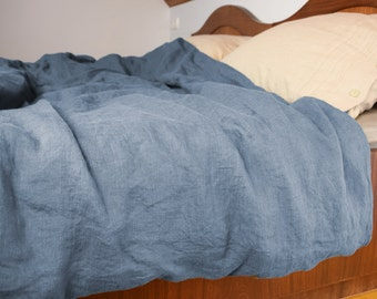 100% linen duvet cover. BLUE SHADOW bedding collection. Blue-grey/gray. Single, twin, queen, king or custom size. Stone washed.