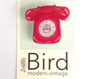 Retro Red Telephone Pin Brooch