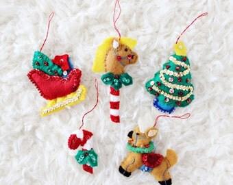 CHRISTMAS TREE ORNAMENTS | stick horse, santa's sleigh, christmas tree, candy cane, & reindeer felt ornaments, set of five