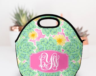 Lunch Box for Woman | Succulents | Monogram Lunch Box | Neoprene Lunch Box | Lilly Pulitzer Inspired Lunch Box