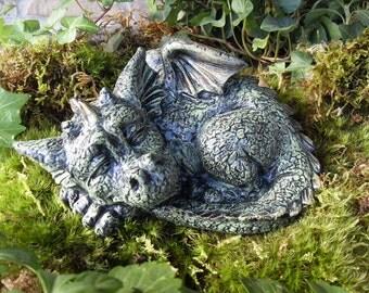 Green Dragon Statue,Large Dragon Statue,Sleeping Dragon Statue,Pet Dragon Statue,Fantasy Outdoor Garden Decor, Concrete