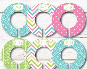 Aqua Closet Dividers, Baby closet dividers, Closet Organizers, Baby shower gift, Girl closet dividers, Clothes dividers, Nursery Decor C207