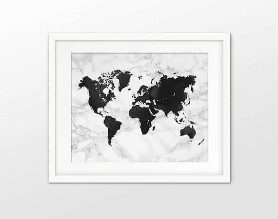 World map art print marble effect world map decor modern like this item gumiabroncs Choice Image