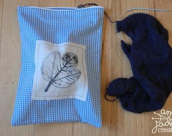 Knitting Project Bag / Hand Printed Fig Leaf Bag / Zipper Project Bag / Knitting Lover / Knitting Addict