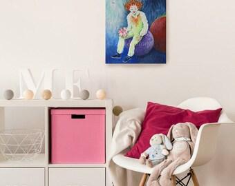Petite fille peinture etsy - Peinture chambre petite fille ...