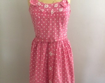 1950s Pink and White Polka Dot Sundress Size M/L