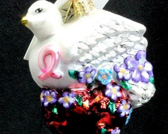 "Radko ""Wings of Love"" Dove & Heart Ornament Tag Box Hand Painted Bird Gift"