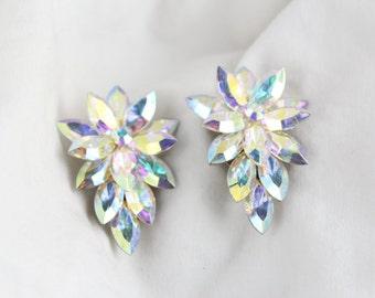 80's Large Tacky Diamond Rhinestone Clip On Earrings