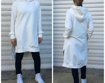Maxi Asymmetric Hooded Top / Cotton Jersey Tunic Dress with Pockets / Women Sweatshirt - MD 1212