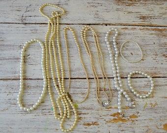 Destash Lot of Vintage Pearl Necklaces, Bracelets, Vintage Jewelry