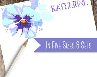 Blue Pansy Custom Note Pad | Custom Note Pad Available in 5 sizes and as a Set