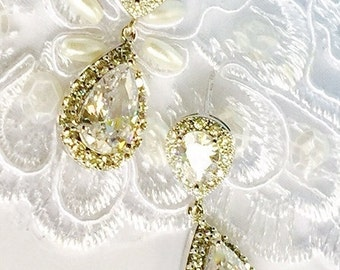 Bridal CZ Earrings,High Quality Cubic Zirconia Teardrops,STERLING SILVER Posts,or Clip On Earrings,Wedding Jewelry,Special Occasion