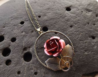 Vintage Silver Plated Rose Necklace