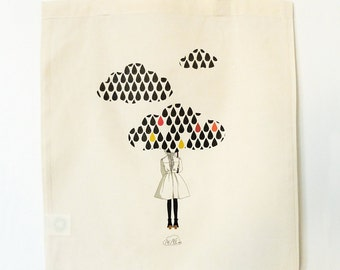 "Illustrated organic cotton print tote bag ""Embellie"""