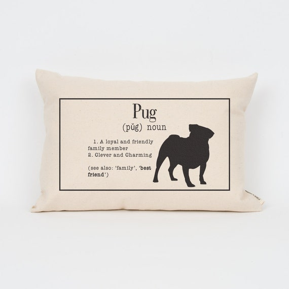 "Pug Pillow 12""x18"" // Pug Art // Pug Mom // Dog Breed Pillow // Dog Mom // Dog Breed Art // Gift for Dog Lover // Pet Gift"