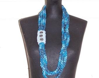 Blue Sashay Chain Necklace Metallic Blue Crochet Hand Crochet Chain Scarf Necklace Wrap  Women's Teen Gift For Her Crochet Chain Necklace