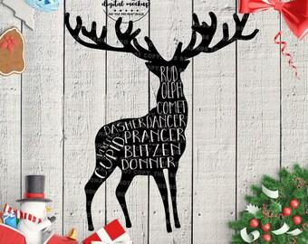 Reindeer svg, Christmas svg Files, Reindeer Cut Files, Reindeer Names svg, Christmas svg, eps, dxf, png Cut Files for Silhouette for Cricut