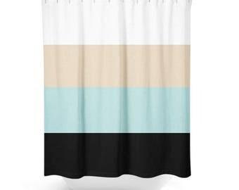 Shower Curtain Bathroom Decor Curtain Bath Home Decor Shower Housewares  Striped Black Light Teal Sand White