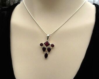 Garnet Silver Pendant, Red Garnet Necklace, January Birthstone, Gift for Her