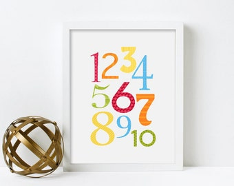 Framed Educational Poster, Nursery Wall Art, Framed Print, Playroom Decor, Art for Kids Room, Nursery Print, Numbers Poster, Counting