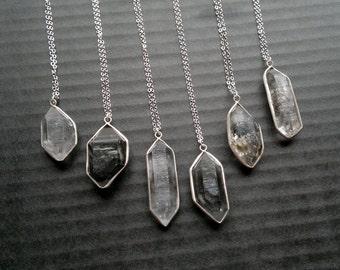 Phantom Quartz Necklace Phantom Quartz Pendant Silver Quartz Crystal Garden Quartz Jewelry Black Crystal Point Stone Jewelry Stone Necklace