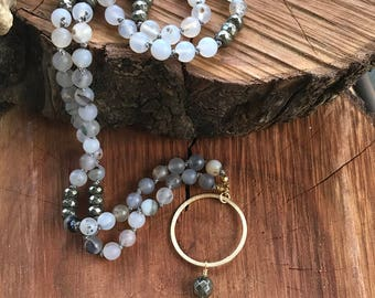 Agate necklace,boho necklace,labradorite  necklacelong beaded necklace,statement necklace,rustic jewelry,handmade jewelry
