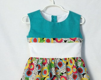 Girls toddlers designer's dress, organic cotton dress, floral dress, aqua, white, Cloud 9, 2T 3T 4T 5T, lined top, shell buttons