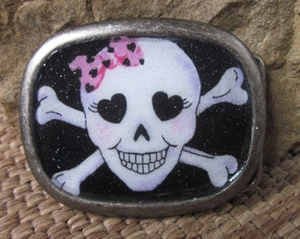 belt buckles women's belt buckles skull crossbones belt buckle pink black white Halloween belt buckle resin belt buckle goth rocker girls