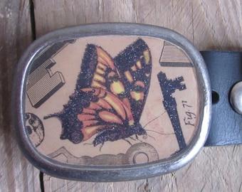 Belt buckle vintage butterfly belt buckle antique keys steampunk belt buckle mens belt buckle women's belt buckle silver rustic belt buckle