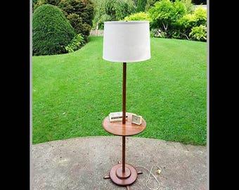 Vintage Mid Century Modern Floor Lamp With Table, Retro