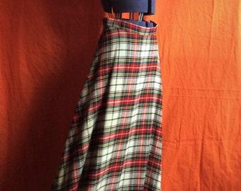Super Long Plaid Skirt