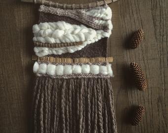 Handmade woven wall hanging // bohemian decoration //