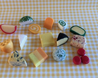 Dolls House Miniature Cheese Slices - Handmade