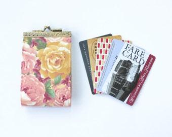 Card holder wallet, business card holder, card case, credit card organizer, fold card case, card box, floral, pink roses, vegan holder