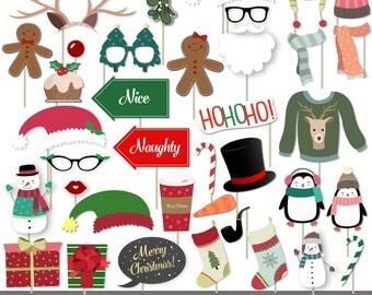 Christmas Photo Booth Props - 37 Christmas Props - Santa Claus - Mrs Claus - Elf - Moustache - Reindeer - Snowman - Photo Props - photoprops