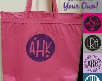 Large Zipper Tote Bag w Monogram or name - 25 Colors, Recyled Polyester, Choose a Monogram or Design One, Wedding, Bridesmaid, Bulk Discount