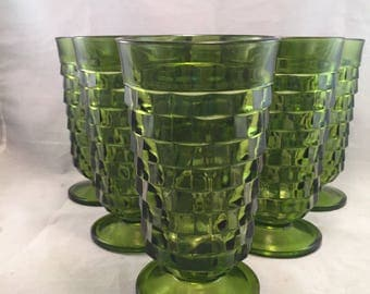 Vintage Indiana Glass Whitehall Deep Green Footed Tumblers, Set of 6