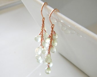 "Prehnite earrings, long rose gold earrings, cascading green gemstone, pink gold jewelry, rose gold fill, 2"", waterfall earrings"