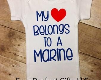 Baby Boy, My Heart Belongs To A Marine, Marine Daddy, Marine Uncle, Marine Grandpa, Future Marine, Baby Marine, Newborn Baby Outfit